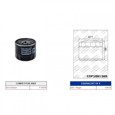Ölfilter Champion C321 / F118/606/COF100136S