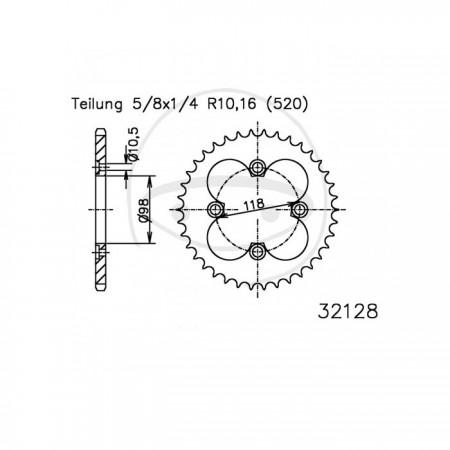 Kettenrad 50-32128-42