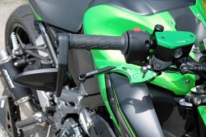 Lenkerendenspiegel Storm | Schwarz | M8 Kawasaki | Alu | Paar | inkl. Lenkergewichte